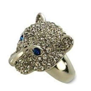 GUESS Stretch Cougar Cat Panther Clear Blue Stone